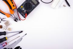 Electrician equipment on white background stock image