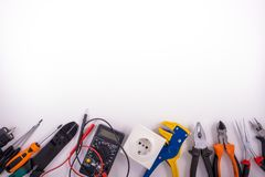 Electrician equipment on white background stock photography
