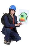 Electrician explaining energy rating. Female electrician explaining energy rating system royalty free stock photo