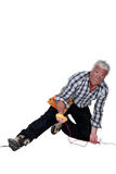 Electrician falling down. After an electrical shock Stock Image