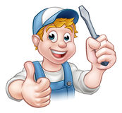 Electrician Handyman Cartoon Character Royalty Free Stock Images