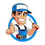 Electrician. He has a screwdriver in his hand stock illustration