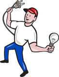 Electrician Hold Electric Plug and Bulb Cartoon Stock Photography