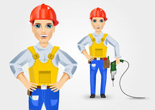 Electrician holding electric drill down Royalty Free Stock Photos