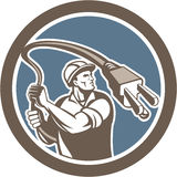 Electrician Holding Electric Plug Lasso Retro Stock Photography