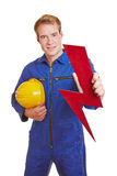 Electrician holding flash symbol Royalty Free Stock Photos