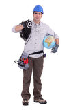 Electrician holding globe Royalty Free Stock Photo
