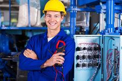 Electrician holding insulation royalty free stock photo