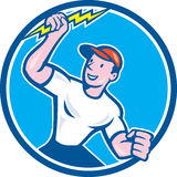 Electrician Holding Lightning Bolt Circle Cartoon Stock Photography