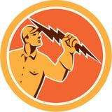 Electrician Holding Lightning Bolt Circle Retro Royalty Free Stock Photos