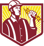 Electrician Holding Lightning Bolt Retro Royalty Free Stock Photos
