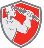Electrician Holding Lightning Bolt Shield Retro Royalty Free Stock Image