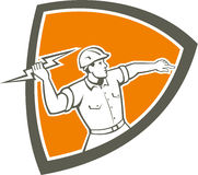 Electrician Holding Lightning Bolt Shield Retro Stock Image