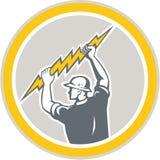 Electrician Holding Lightning Bolt Side Retro vector illustration
