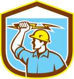 Electrician Holding Lightning Bolt Side Shield Royalty Free Stock Image