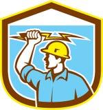 Electrician Holding Lightning Bolt Side Shield Royalty Free Stock Image