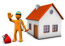 Electrician With House. Orange cartoon character as electrician with toolbox and house. White background Stock Photo