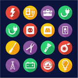Electrician Icons Flat Design Circle Royalty Free Stock Image