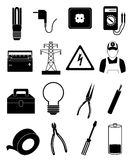 Electrician icons set Royalty Free Stock Image