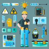 Electrician Icons Set. With electricity and energy symbols flat isolated vector illustration Stock Photo
