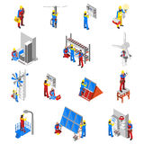 Electrician Icons Set Stock Photo