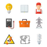 Electrician industry icon cartoon set Royalty Free Stock Images