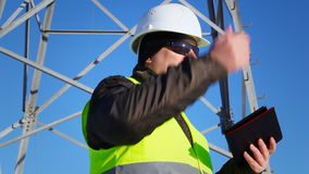 Electrician inspect electric lines technical quality stock video footage