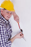 Electrician Installing A Switch Stock Photos