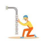 Electrician installing electrical equipment and sockets, electric man performing electrical works vector Illustration Stock Photography
