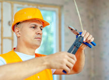 Electrician installing electricity Royalty Free Stock Photography