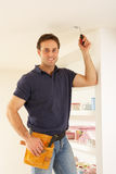 Electrician Installing Light Fitting Royalty Free Stock Photo