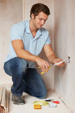 Electrician Installing Socket In New House Stock Photos