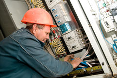 Electrician at installing work Royalty Free Stock Photo