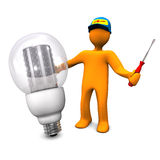 Electrician With LED Bulb. Orange cartoon character as electrician phones with LED lamp. White background Royalty Free Stock Photography