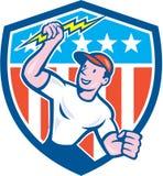 Electrician Lightning Bolt USA Flag Cartoon Stock Photos