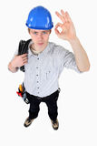 Electrician making OK gesture Royalty Free Stock Images