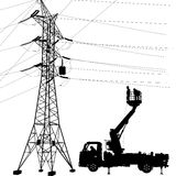 Electrician, making repairs at a power pole. Vector illustration Royalty Free Stock Photo