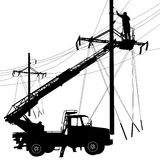 Electrician, making repairs at a power pole. Vector illustration Royalty Free Stock Images