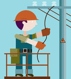 Electrician making repairs at a power pole. Electrician in work clothes and a helmet making repairs at a power pole. Illustration in flat style Stock Photo