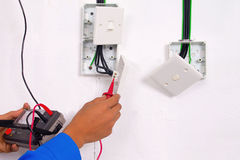 Electrician are making the testing Royalty Free Stock Photo