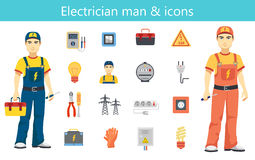Electrician man concept and color flat icons set isolated. Electrician man concept and color flat icons set Stock Image
