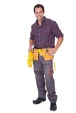 Electrician Man Holding Cable And Toolbox Stock Photo