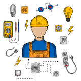 Electrician man, tools and equipment Royalty Free Stock Image