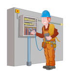 Electrician measure the electrical panel Royalty Free Stock Photos