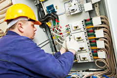 Electrician measure voltage and current Royalty Free Stock Photo