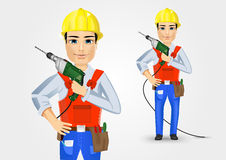 Electrician or mechanic holding electric drill Stock Photo