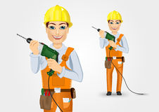 Electrician or mechanic holding electric drill. Portrait of technical, electrician or mechanic holding electric drill  over white background Stock Photography