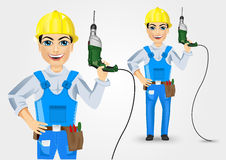 Electrician or mechanic holding electric drill up Royalty Free Stock Images