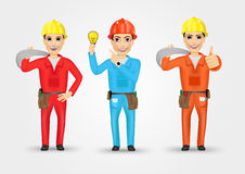 Electrician or mechanic in poses Stock Photography