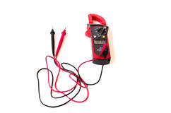 Electrician meter instrument and wires with digital multimeter i royalty free stock image